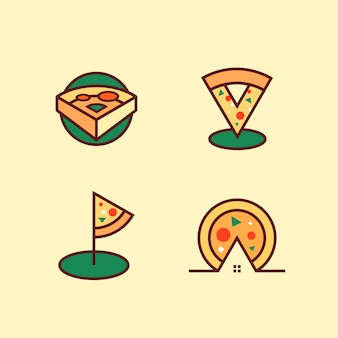 Pizza logo set vector