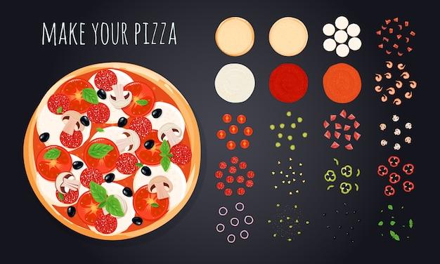 Pizza maken decoratieve pictogrammen instellen met ronde pizza afbeelding