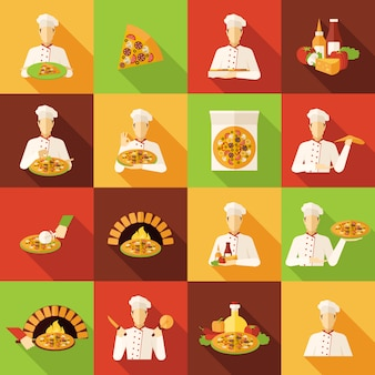 Pizza makers plat pictogrammen instellen