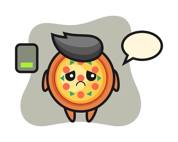 Pizza mascotte karakter doet een moe gebaar
