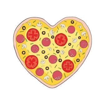 Pizza met gesmolten kaas en pepperoni. cartoon sticker in komische stijl met contour. decoratie voor wenskaarten, posters, patches, prints voor kleding, emblemen.