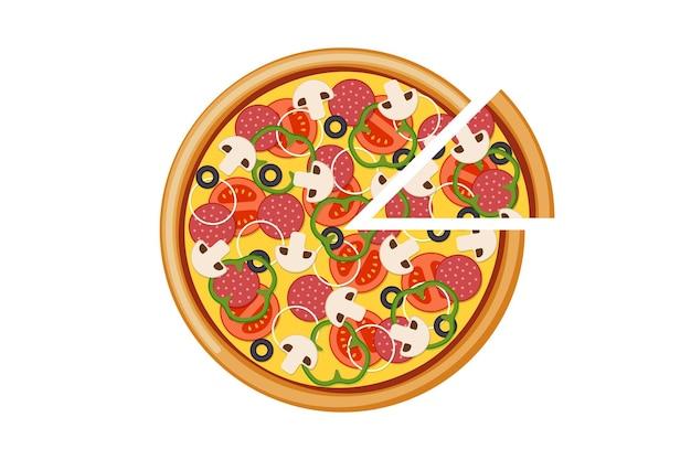 Pizza met gesneden tomaten champignons salami worst ui paprika zwarte olijven en kaas. italiaanse fastfood geïsoleerde vector eps illustratie