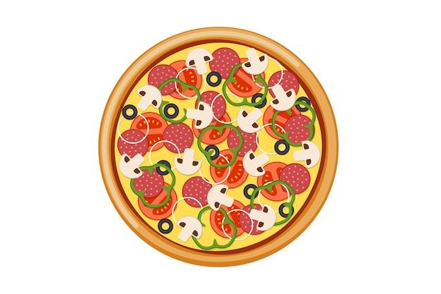 Pizza met gesneden tomaten champignons salami worst ui paprika zwarte olijven en kaas. italiaanse fastfood geïsoleerde vectorillustratie