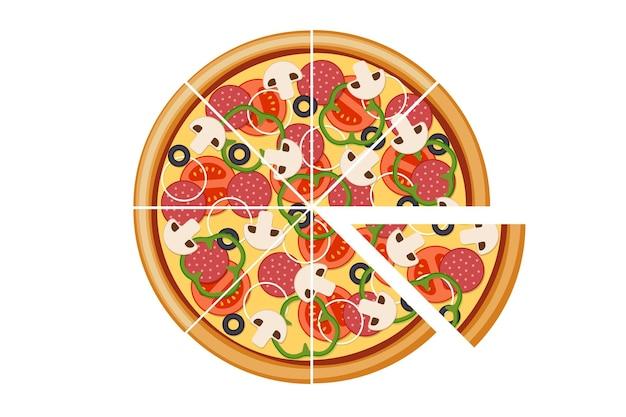 Pizza met gesneden tomaten champignons salami worst ui paprika zwarte olijven en kaas