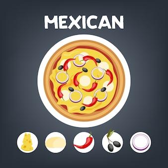 Pizza mexicaans zonder vlees. italiaans vegetarisch eten