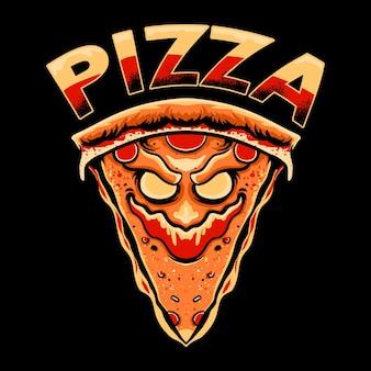 Pizza monster character tshirt ontwerp illustratio