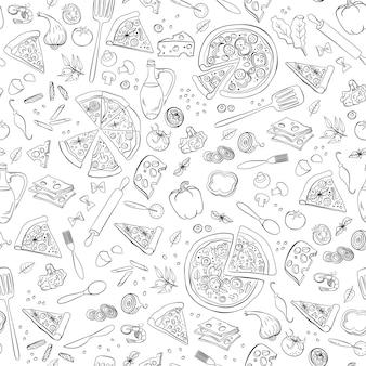 Pizza naadloze patroon. Premium Vector