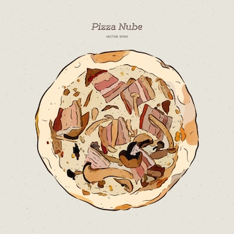 Pizza nube, becon en champignonpizza.