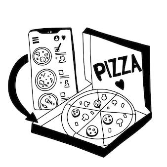 Pizza online bestellen. concept voor online winkelen. zwart-wit doodle.