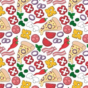 Pizza patroon in hand tekenen stijl