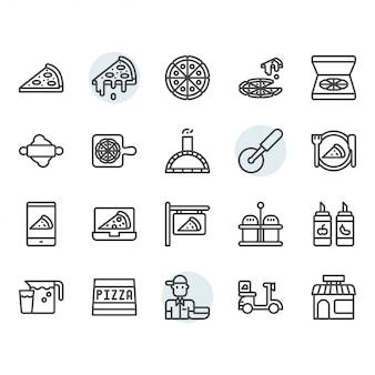 Pizza pictogram en symbool in overzicht