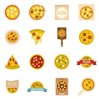 Pizza pictogrammen instellen in vlakke stijl