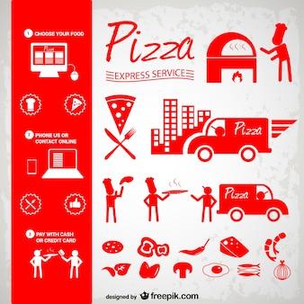 Pizza pictogrammen set gratis te downloaden