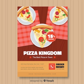 Pizza plakjes poster sjabloon
