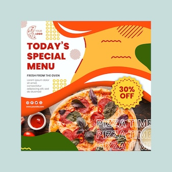 Pizza restaurant kwadraat flyer sjabloon
