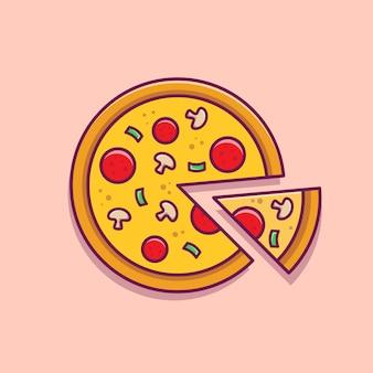 Pizza segment cartoon afbeelding.