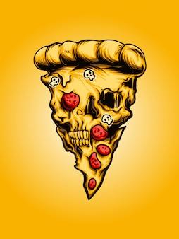 Pizza skull illustratie