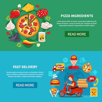 Pizza snelle levering banners