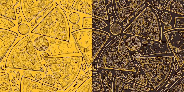 Pizza snijdt naadloos patroon. hand getekend italiaans eten illustratie. gegraveerde stijl retro voedsel achtergrond. retro fastfood.