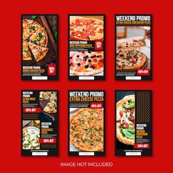 Pizza sociaal instagram verhaal of sjabloon voor spandoek