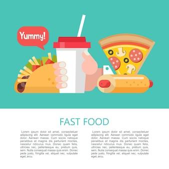 Pizza, taco's met vlees en groenten, hotdog en milkshake. fast food. heerlijk eten. vectorillustratie in vlakke stijl. een set van populaire fastfoodgerechten. illustratie met ruimte voor tekst.