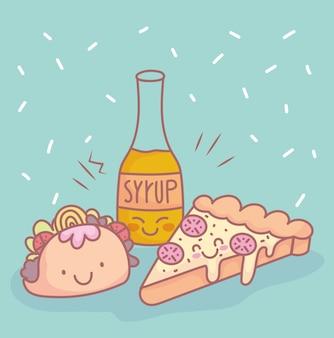 Pizza taco siroop fles menu restaurant eten schattig