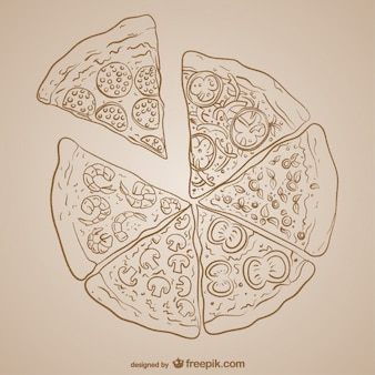 Pizza tekening vector design