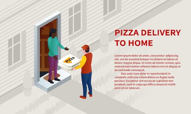 Pizza thuis levering concept banner, isometrische stijl