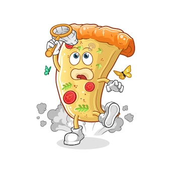 Pizza vangst vlinder illustratie. cartoon mascotte mascotte