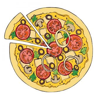 Pizza vector schets.