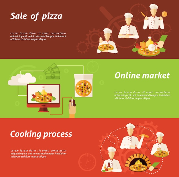 Pizza verkoop en kookbanner