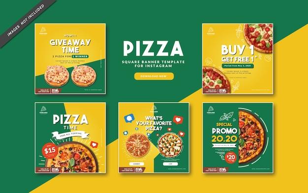 Pizza vierkante sjabloon voor spandoek voor instagram