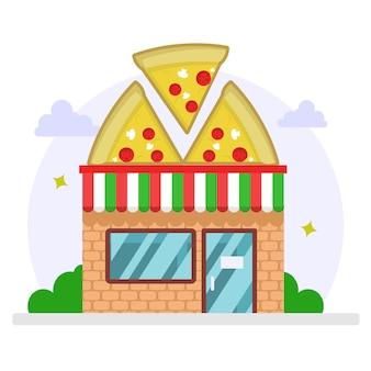 Pizza winkel platte ontwerp illustratie