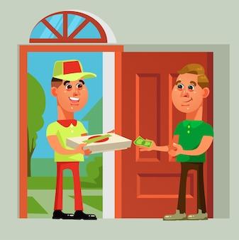 Pizzabezorger brengt voedsel naar de consument