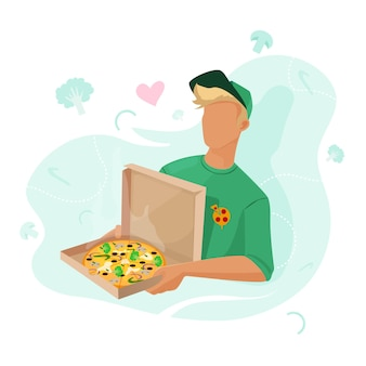 Pizzabezorging bij je thuis de man bracht pizza en groenten naar het huis