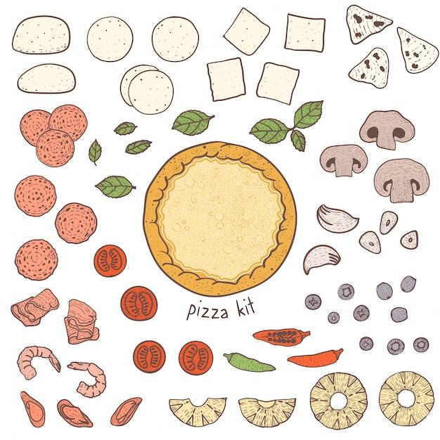 Pizzabodem en toppings, schetsen illustratie