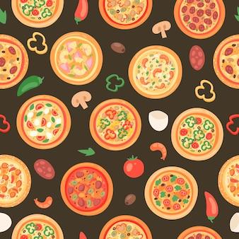 Pizzahuis met ingrediënten en verschillend types naadloos patroon