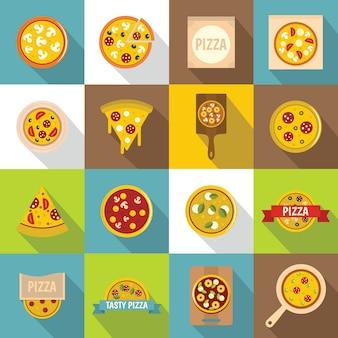 Pizzapictogrammen geplaatst voedsel, vlakke stijl