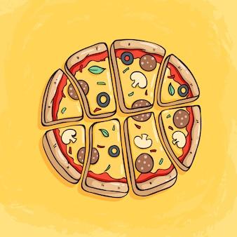 Pizzaplak die een basketbal met smakelijk bovenste laagje op geel vormen