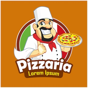 Pizzaria mascotte cartoon logo