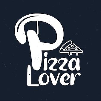 Pizzatypografie met handgetekende letters