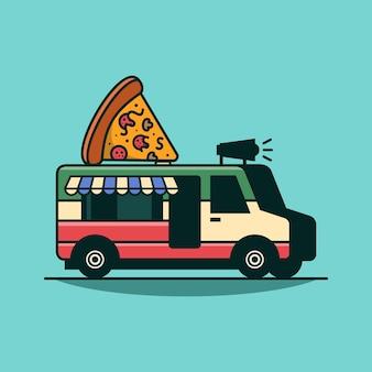 Pizzavrachtwagen bestelwagen met pizza vectorillustratie mobiele voedselvrachtwagen