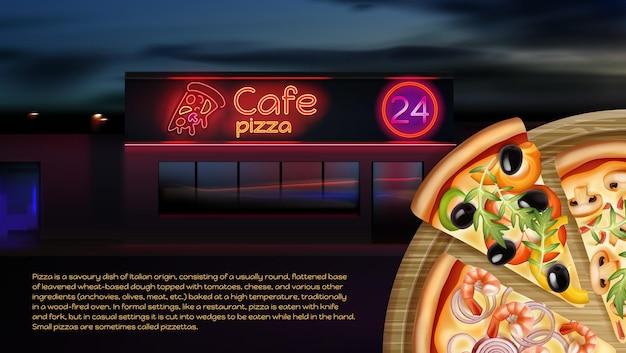 Pizzeria-advertentie met café op de achtergrond en ronde pizza met verschillende vullingen