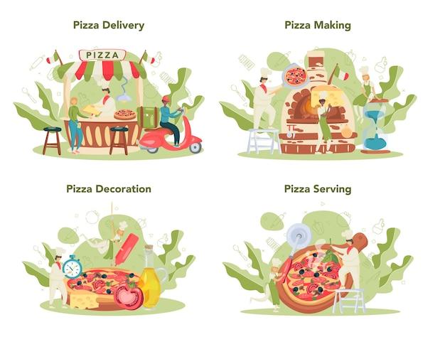 Pizzeria conceptenset. chef-kok die smakelijke heerlijke pizza kookt. italiaans eten. salami en mozarellakaas, plakje tomaat.