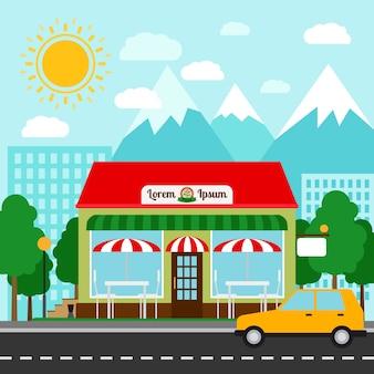 Pizzeria kleurrijke vectorillustratie. pizza huis winkel voorkant met bergen en stad