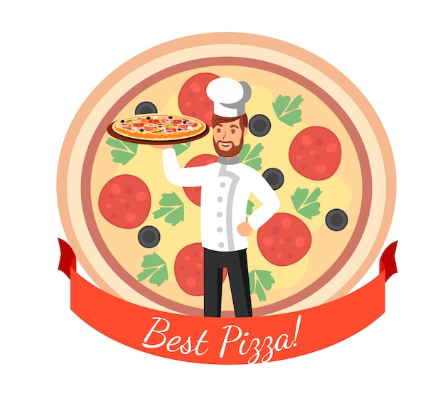 Pizzeria logo flat vector cartoon illustratie