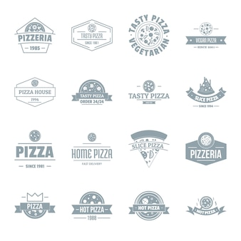 Pizzeria logo iconen set