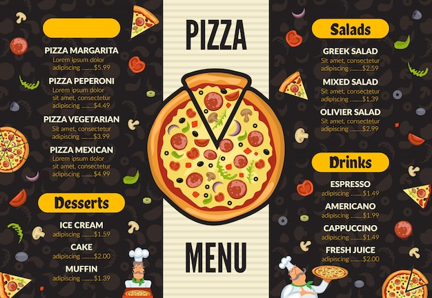 Pizzeria menusjabloon. italiaanse keuken keuken voedsel pizza ingrediënten koken lunch en desserts achtergrond
