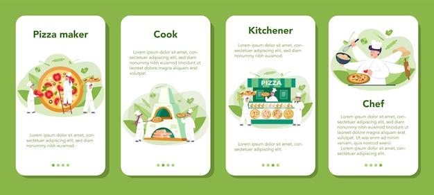 Pizzeria mobiele applicatie banner set. chef-kok die smakelijke heerlijke pizza kookt. italiaans eten. salami en mozarellakaas, plakje tomaat. geïsoleerde vectorillustratie in cartoon stijl