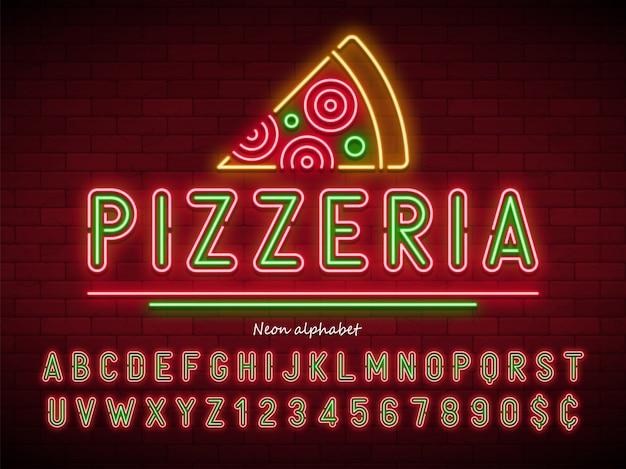 Pizzeria neonlicht alfabet, extra gloeiend lettertype